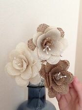 Hessian / Burlap Flowers Ivory & Natural Stemmed Cakes Bouquets Weddings x 3