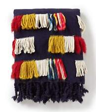 NOBLE EXCELLENCE Global Inspirations NAVY Multi Colored FRINGED THROW BLANKET