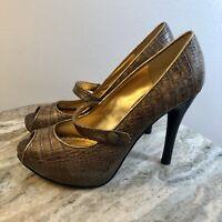 HALE BOB Women's Size 6.5M Leather Crocodile Mary Jane Open Toe Pumps Brown -G