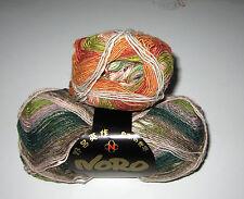 100 gram ball of NORO TAIYO SOCK cotton silk wool yarn Rust Green Pink Olive #28