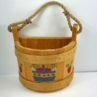 Maine Bucket Company Wooden Half Bucket Hanging Apple Basket Vintage Made USA