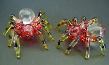 2 Tiny Glass TARANTULA SPIDERS Insects Painted Glass Ornaments Curio Display