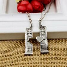 Fashion Jewelry Doctor Who TARDIS Phone Booth Double Heart Couples Necklace AE