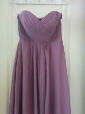 Purple Lavender Sweetheart Strapless Chiffon Bridesmaid Dress Size 8 Full-Length