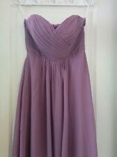 Purple Lavender Sweetheart Strapless Chiffon Bridesmaid Dress Size 8 Full-Length