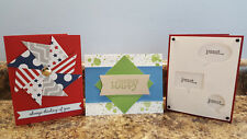 New listing 3 Handmade Stampin Up Greeting Cards, All Occasion, Masculine