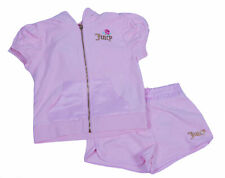 Juicy Couture Girl's 2 Piece Short Sleeve Jacket Short Terry Fabric Set Pink 5