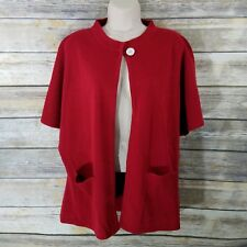 Tally Ho L Cardigan Sweater Red Dolman SS Sleeve One Button Knit Open Front 416