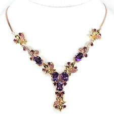 NATURAL PURPLE AMETHYST RHODOLITE GARNET & CZ STERLING 925 SILVER NECKLACE 18""