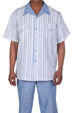 Men's Summer 2-pc Leisure Suit (short sleeve shirt&pants), Casual Walking Suit