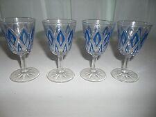 Vintage Set of 4 VMC Reims France Blue Diamond Pattern Cordial Glasses