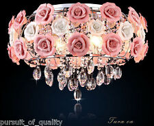Pink Rose Flower Chandelier Crystal Pendant Lamp Ceiling Light Fixture Romantic