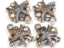 4 - 2 HOLE SLIDER BEADS SILVER & BRASS METAL STARFISH & SEA SHELLS SEASHORE BEAD