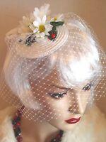 CHAPEAU JULES VINTAGE 40's 50's Style White Straw DAISY FLOWER VEIL FASCINATOR