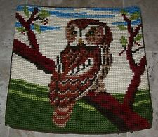 "VINTAGE OWL Needlepoint Sofa Pillow Cover Handcrafted Completed 15"" x 15"""