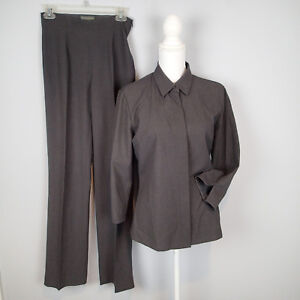 Banana Republic suit shirt  blazer top  m/2 charcoal pants wool blend stretch n9