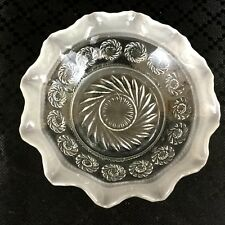 Antique Victorian  Glass Bowl  Frosted & Clear Pie Crust Rim