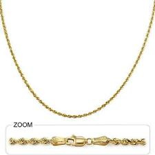 "9gm 14k Yellow Gold Solid Diamond Cut Rope Women's Men's Necklace Chain 24"" 2mm"