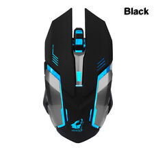 Rechargeable Wireless Mouse 7 Colors Backlight Silent Optical Gaming Mice for PC Black
