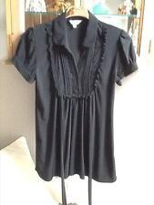 New Look black short sleeve detailed long shirt UK 12
