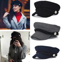 Retro Women Wool Blend Winter Warm Beret Baker Boy Peaked Cap Newsboy Travel Hat