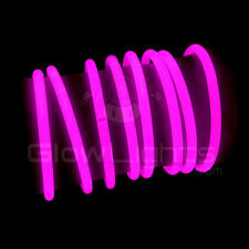 "(100) 8"" GLOW LIGHT STICKS BRACELETS - NEON PINK - PREMIUM - GLO LITE PARTY"
