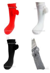 Baby Pom Pom Socks Knee High Spanish Romany Boy Girl Unisex Soft Touch Red Black