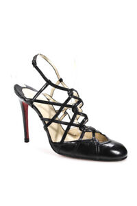 Christian Louboutin Womens Leather Strappy Slingback Pumps Black 41 40 LL19LL