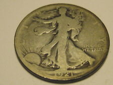 1921-D Walking Liberty Half Dollar VG KEY DATE Rim Ding