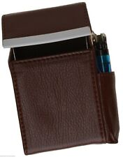 New Cigarette Hard Case Pouch Leather Holder Wallet Purse Brown