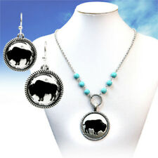 BLACK BUFFALO BURNISHED SILVER MEDALLION ROPE EDGE TURQUOISE BEAD NECKLACE SET