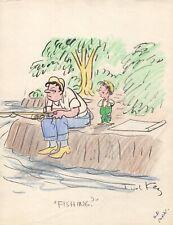 TED KEY HANDSIGNED ORIGINAL COLOR ARTWORK EARLY 50s    RARE     HAZEL CARTOONIST