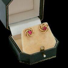 Antique/Deco/Retro 14K Y Gold Ruby Paste Infinity Knot Earrings [2.9g] No Scrap