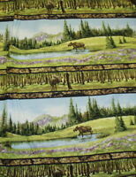 Wild in the Wilderness wildlife moose trees stream stripe Riverwoods fabric