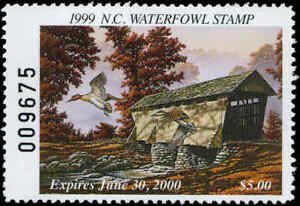 NORTH CAROLINA #17 1999 STATE DUCK STAMP GREEN WINGED TEAL Robert Flowers