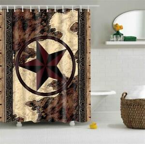 Texas Star Shower Curtain Western Rustic Bathroom Decor Waterproof 12 Hooks New