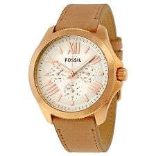 NEW FOSSIL ROSE GOLD TONE,ROMAN NUMBERS, BEIGE MAUVE LEATHER BAND WATCH AM4532