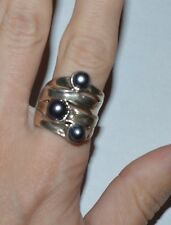 DESIGNER HAGIT GORALI ISRAEL STERLING SILVER AND PEARLS RING SIZE 8