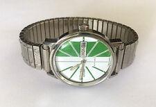 Vintage 1972 Bulova N2 Spinnaker Automatic Mans Watch Green & White 11AOACC Movt