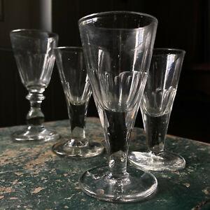 4 Antique Georgian Victorian Drinking Glass Gin Liquer Wine Pontiled Base
