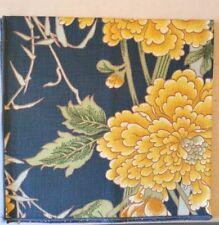 6 Cloth Napkins Navy Yellow Chrysanthemum Pheasant Bamboo Asian Napkin Set
