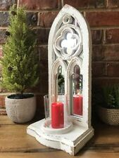Gothic Arch Antique Vintage Garden Mirror Wall Sconce Large Pillar Candle Holder