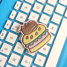 Kawaii Cat Burger Embroidered Patch Iron On Appliqué
