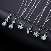 Cute 925 Silver Crystal Zircon Necklace Pendant Choker Chain Women Jewelry Gift