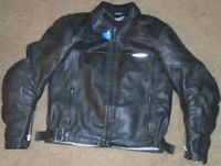 Mens Black Motorcycle Leather Jacket By Teknic 44/54 With Pads