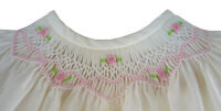 Ivory Hand-Smocked Dress w/ Embroidered Flowers fits Bitty Baby Doll Clothes