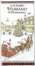 Husband Christmas Card  'To My Wonderful Husband At Christmastime'