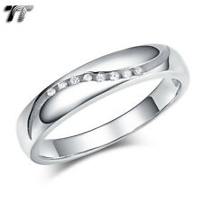 TT 3.5mm RHODIUM 925 Sterling Silver Waved Engagement Wedding Ring (RW49) NEW