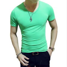 Men's Slim Fit Base Short Sleeve T-shirt Solid Crew Neck Casual Bottom Tee Tops
