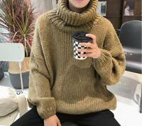 Men's Loose Turtleneck Knitted Pullover Soild Oversize High Neck Sweaters Tops